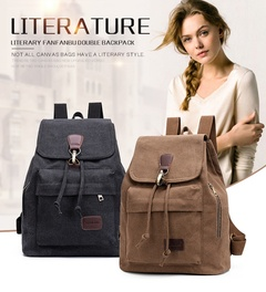 Vintage canvas travel backpack student backpack leisure bucket bag (khaki )