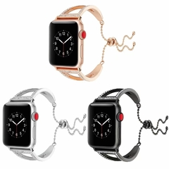 Apple Watch Band 38mm 40mm,Stainless Steel Cuff Bracelet Replacement iWatch Strap Wristband Bangle (black+ diamond) 38 mm