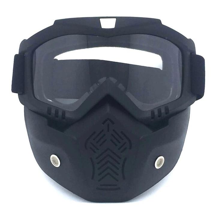 Helmet goggles, mask goggles, motocross goggles [Sand black frame + transparent lens] One size