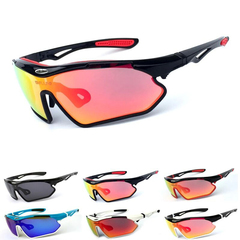 Sunglasses, bicycle riding glasses, UV protection outdoor sports mirror [Black frame+Red  lends one size