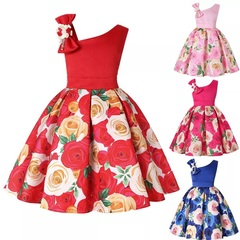 Girls dress dress skirt party costume (rose print) (Red) 3/100cm