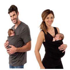 Kangaroo Dad Multi-Function Clothes Kangaroo Mother Casual T-Shirt (Women's models - black) M