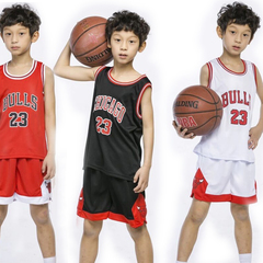 Basketball clothing suit kindergarten baby children performance clothing primary school jersey (black) 3XS (Cotton blended)