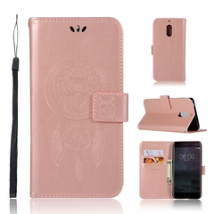 Nokia 6 Case,Embossed Design PU Leather Flip Wallet Stand Case (Rose gold) For Nokia 6