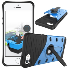 iphone 5 5S SE Case,Shockproof Hybrid Rugged Case Hard Shell Cover with Swivel Kickstand (blue) For iphone 5 5S SE