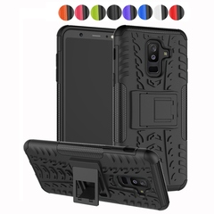 Samsung Galaxy A6 Plus Case,Shockproof with Kickstand TPU+PC Dual Layer Protective Stand Case Cover (black) For Samsung Galaxy A6 Plus