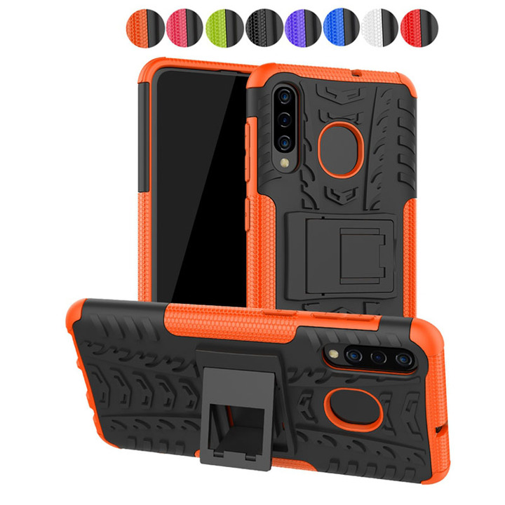 Samsung Galaxy A50 A30 Case,Shockproof with Kickstand TPU+PC Dual Layer Protective Stand Case Cover (Orange) For Galaxy A50 A30