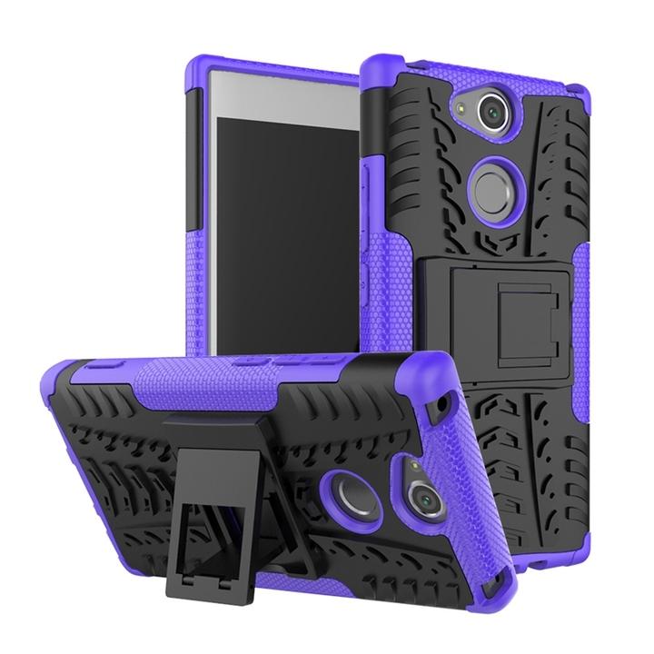 Sony Xperia XA2 Case,Rugged Tire Pattern 2 in 1 PC TPU Anti-Fingerprint Shockproof Case (purple) For Sony Xperia XA2
