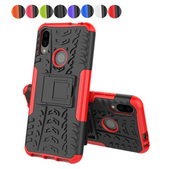 Xiaomi Redmi Note 7 Case,Stand Durable Detachable Shockproof 2 in 1 Soft Silicone TPU+PC Cover (red) for Xiaomi Redmi Note 7