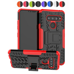LG V40 Case, 2 in 1 Double-Layer Hybrid Shock Resistant Armor with Kickstand Protective Case (red) For LG V40
