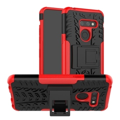 LG G8 Case,Durable Armor Full Body Protective Resilient Shock Absorption Kickstand Design (red) For LG G8