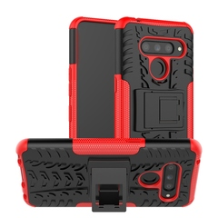 LG V50 case Heavy Duty Hybrid Tough Rugged Dual Layer Armor Hard PC Shock Protective (red) For LG V50