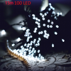 Christmas Tree Decors 15m 100 LED Solar String Light Xmas Ornament New Year Decoration White as picture one
