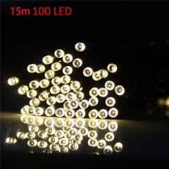 Christmas Tree Decors 15m 100 LED Solar String Light Xmas Ornament New Year Decoration Warm white light as picture one