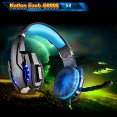KOTION EACH G9000 Gaming Headphone 3.5mm Game Headset Headband for PS4 with Mic LED Light blue