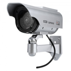 Solar Energy Realistic Dummy Surveillance Security CCTV Sticker Camera Flashing Red LED Light silver one size