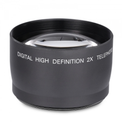Digital High Definition 58MM 2X Teleconverter Telephoto Lens for DSLR Camera black one size
