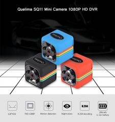 Quelima SQ11 Mini Camera 1080P HD Camcorder with Night Vision black one size