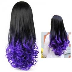 Women Long Curly Wavy Half Hair Wigs Heat Resistant Gradient Color Beauty Style purple as picture