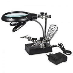 5 LED Light 10X Magnifier Desk Lamp Repair Clamp Desktop Magnifying Glasses with Alligator Clip as picture one size