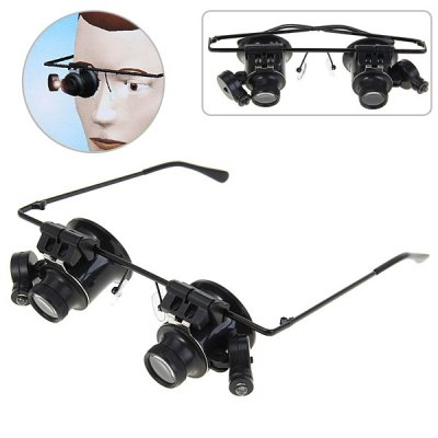 New Design Binocular Glasses Type 20X Watch Repair Magnifier with LED Light (Black) black