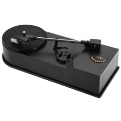 EC008B Portable Phonograph Mini USB Turntable Vinyl LP with 33  45 RPM PC Recording Function Black One size