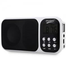 HJ - 92 Mini Digital Media Portable FM Radio Speaker MP3 Player with TF Card Slot AUX Audio Input white