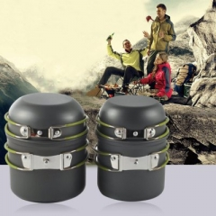 4pcs Outdoor Portable Cookware Anodised Aluminum Pot Bowl Camping Utensils