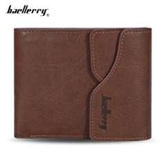 Baellerry Men Coin Pocket PU Leather Short Wallet Card Holder light coffee one size