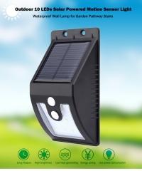 Outdoor 10 LEDs Solar Powered Motion Sensor Light Waterproof Wall Lamp warm white light one size