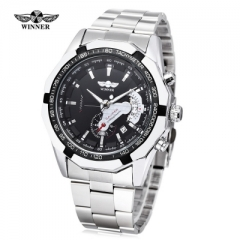 WINNER W050 Male Auto Mechanical Watch Chronograph Date Display Wristwatch black one size