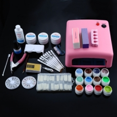 Professional 36W White Cure Lamp Dryer UV Gel Nail Tools Full Set Kit as picture eu plug
