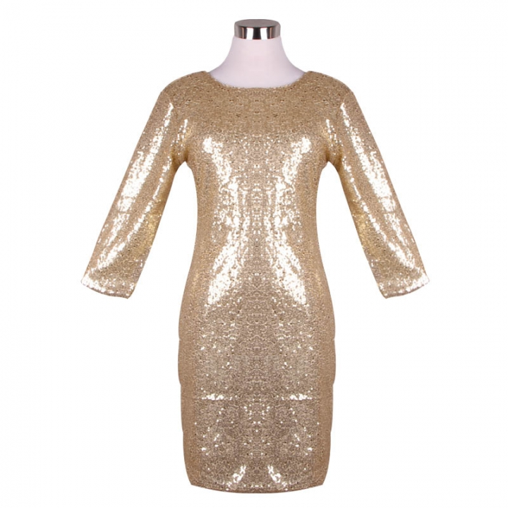 2018 New Spring Summer Style Dress Women O Neck Long Sleeve paillette  Sequins Backless Bodycon Slim c831602e00c5