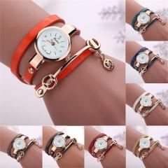 Women's Casual Vintage Multilayer Wristwatch Weave Wrap Rivet Leather Bracelet black