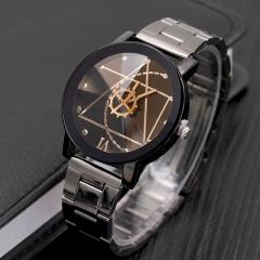 2018 Fashion Watch Stainless Steel Man Quartz Analog Wristwatches Beautiful black WOMEN