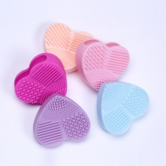 Heart Shape Clean Make up Brushes Wash Brush Silica Glove Scrubber Board Cosmetic Cleaning Tools random