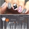 15Pcs Nail Art UV Gel White Pen Painting Brush Multifunctional pink 15pcs