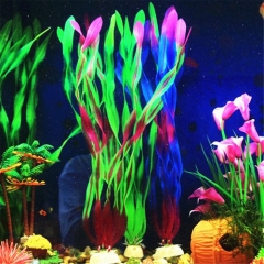 Simulation Fish Tank Aquarium Plastic Artificial Water Plant Grass Ornament Red one size