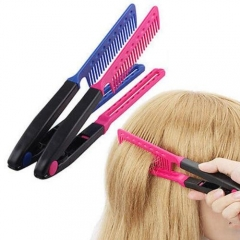 Hair Combs V Type Hair Straightener Comb DIY Salon Hairdressing Styling Tool pink one size