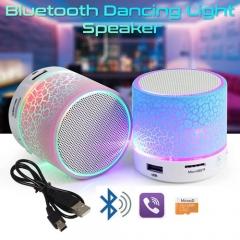 Mini Portable Wireless Bluetooth Speaker LED Light Crack MP3 USB Stereo Player black 43W no size