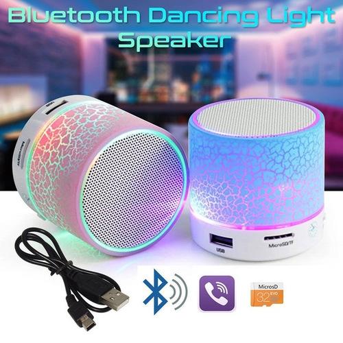 Mini Portable Wireless Bluetooth Speaker LED Light Crack MP3 USB Stereo Player blue 43W no size