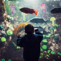 Jellyfish Aquarium Decor Artificial Glowing Effect Fish Tank Ornament Pink one size