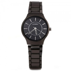 Sinobi 9442 Fashionable JAPAN Round Dial Quartz Watch Stainless Steel Strap for Female black