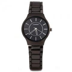 Sinobi 9442 Fashionable JAPAN Round Dial Quartz Watch Stainless Steel Strap for Female black