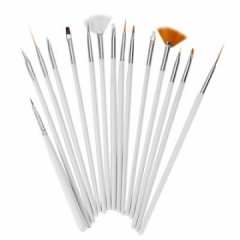 15Pcs Nail Art UV Gel White Pen Painting Brush Multifunctional white 15pcs