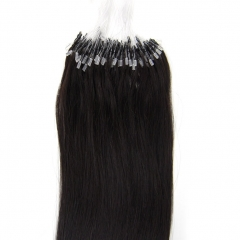 Fashion 100S Loop Micro Rings Beads Tip real Remy 100% Real Human Hair Extensions Women's Hairs #1B Natural Black 16inch