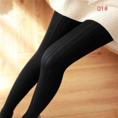 Hot Selling Fashion Women Winter Pantyhose Tights Thick Knit Fashion Footed Warm Socks Stockings black ear of wheat one size