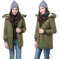 Hot Selling Fleece Hooded Coat Womens Overcoat Jacket Trench Warm Parka Winter Long Outwear army green s