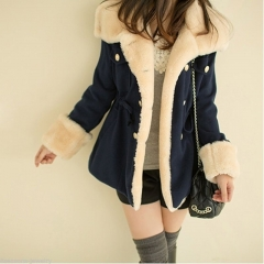 Top Selling New  Women's Warm Winter Faux Fur Hooded Parka Coat Overcoat Long Jacket Outwear navy s