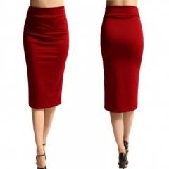 New Ladies Plain Office Womens Stretch Bodycon Midi Jersxy Pencil Dress red S